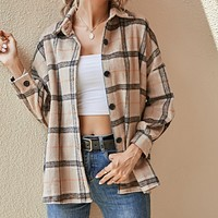 Women's Plaid Woolen Printed Shirt Jacket