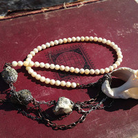Primitive Bohemian Necklace with Found Shell. Boho, Tribal, Raw, Rustic, Organic, Earthy, Oxidized. Pyrite, Sterling Silver, Copper.