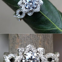 EVER BLOOMING LOVE - 1.50 carat Diamond Engagement Flower Ring - Infinity - Gorgeous Unique Rose - Lotus - fL06