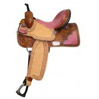 15 inch Double T Barrel Saddle, saddles with Pink Alligator Print Seat