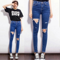Skinny Pencil Pants Girls Denim Ripped Boyfriend Jeans With Holes For Women Girls High Waist Plus Size Jeans