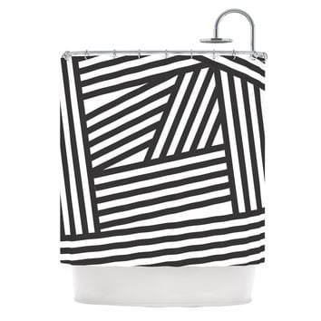 "Louise Machado ""Black Stripes"" Shower Curtain"