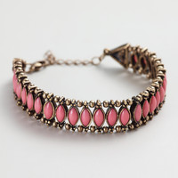 Coral and Gold Row Bracelet