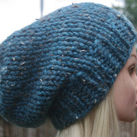 Hand Knit hat- Women's hat- Teal tweed- winter hat- Rustic Mega Chunky with wool- Women accessories