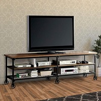 "Industrial Style 81"" TV Stand And Entertainment Center With Mesh Bottom Shelf, Brown & Black"
