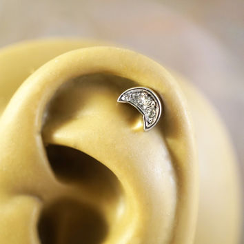 Sparkly Crescent Moon Cartliage Earring Tragus Conch Helix Piercing