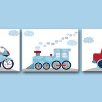 Red Navy Blue Gray Train Truck Camion Motorcycle Canvas Wall Art Childrens Wall Art Baby Boy Nursery Art Print set of 3