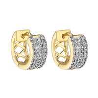 Hoop Style Earrings 14k Yellow Gold Finish 12mm Womens Mens Brand New Iced Out