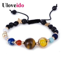 Uloveido Universe Solar System Guardian Star Natural Stone Beads Thread Strand Bracelets Bangle for Women New Year Gifts BR001