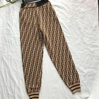 FENDI Trending Women Stylish Double F Letter Sport Stretch Pants Trousers Sweatpants