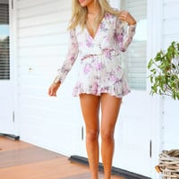 ONLY YOURS PLAYSUIT - Cream and pink floral playsuit