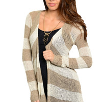 Striped Long Sleeve Open Front Knit Cardigan