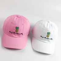 Pineapple Baseball Hat Curved Bill Low Profile Embroidered Baseball Caps Gift