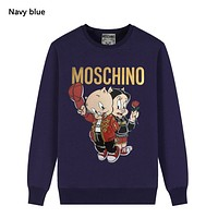 Moschino New fashion letter pig print hooded long sleeve sweater Navy Blue