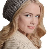 Pointelle Knit Slouch Beanie
