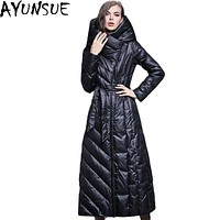 AYUNSUE Plus Size 3XL New 2016 Winter Duck Down Jacket Women Long Coats European Thick Female Warm Clothes Stand Up Collar LX387