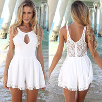 Beach Romper with Lace Detail