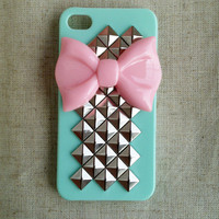 Pink Bow With Pyramid Studded Iphone Case