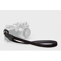Black Baby Alpaca Wool and Black Leather Camera Wrist Strap (ring attachment)