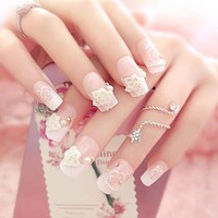 24pcs/set 3D French Bride Bling Nail Art  Glitter Rhinestone Flower Decor Nail Tips Fake Nails with Glue Tip Finished Flower