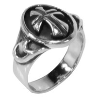 Gothic Cross Etched Surface Ring