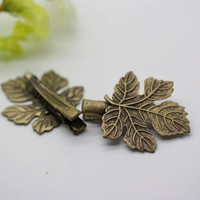 Leaf bobby pins, retro bronze maple leaf hair pin, wedding jewelry, gift for bridesmaid.