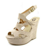 G By Guess Hizza Womens Nude Faux Suede Wedge Sandals Shoes - 7.5M