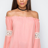 Leighton Off The Shoulder Top - Blush
