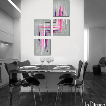 "Made to order - Original abstract painting. 4 piece canvas art. 40x26"" Large painting. Contemporary. Girly modern wall art. Pink painting."