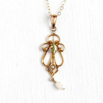 Genuine Peridot Lavalier - Edwardian Era 10k Rosy Yellow Gold Seed Pearl Pendant Necklace - Antique 1910 Baroque Pearl Fine Gemstone Jewelry