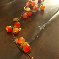 Handmade Vintage Sweet Cherry beads long necklace Statement jewelry