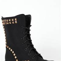 Lace Up Combat Boot with Pyramid Stud Trim