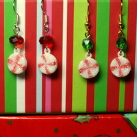Peppermint Earrings with Red or Green Accent Christmas Candy Dangles