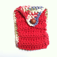 Crochet iPhone Case, Red Crochet Pouch, Slouchy Pouch, Small Gift, iPhone Pouch, Carrying Pouch, Pipe Pouch, Soft Wallet, Red Crochet Wallet