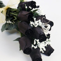 Black Dozen Ring Roses - Choose your own ring size with every dozen!