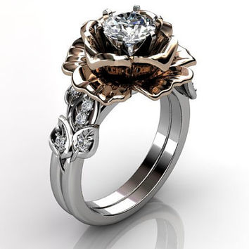 14k two tone white and rose gold diamond unusual unique floral engagement ring, bridal ring, wedding ring, engagement set ER-1055-5