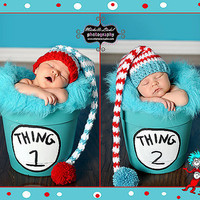 Crochet Striped Elf Hat Twin Set Holiday Photo by JCrochetShop