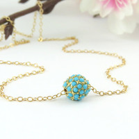 Turquoise Stardust Necklace, Sea Blue Glitter Sparkle Bead, Thin Gold Chain, Turquoise Jewelry, Turquoise Pendant, Gold Bead Necklace