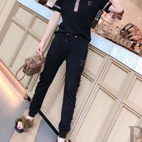 """""""LOUIS VUITTON"""" Women's Leisure  Fashion Letter Printing   Short Sleeve  POLO Shirt Trousers Two-Piece Casual Wear"""