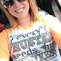 Hunting shirts, hunting raglan tee, hunting gear, every hunter needs his huntress raglan tee, every hunter needs his huntress, raglan tee, fun tee's, custom t-shirts, boutique clothing, neon orange, orange, hunters orange, camo shirts, camo, camo apparel