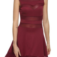 Berry Red Sheer Skater Cocktail Evening Party Girls Night Out Mini Fashion Dress