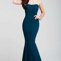 Teal Strapless Prom Dress 26563