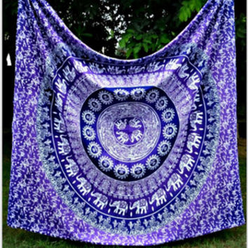 Purple Bohemian Tapestry Colored Printed Decorative Mandala Tapestry Indian 130cmx150cm 153cmx203cm Boho Wall Carpet