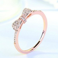 Cute Bow Knot Design Engagement Ring