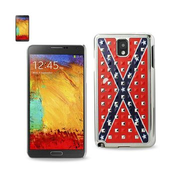 Reiko REIKO SAMSUNG GALAXY NOTE 3 STUDDED PLATING RIVETS CONFEDERATE FLAG DESIGN CASE IN RED