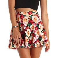 Floral Print High-Waisted Skater Skirt by Charlotte Russe - Red Combo