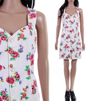White Floral Denim Dress Button Up Short from KatrajinaCo ...