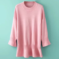 Pink Knitted Loose Sweater