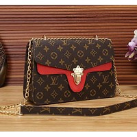 LV Louis Vuitton Popular Women Leather Metal Chain Handbag Shoulder Bag Crossbody Satchel Red I/A