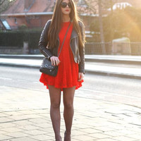 Red Lace Flare Dress